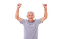 Exited senior old man laughing, raising his hands up Royalty Free Stock Photo