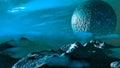 Exoplanet fantastic landscape Royalty Free Stock Photo