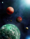 Exoplanets multiple and nearby star Stock Image