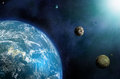 Exoplanets solar system alternative in deep space with earth like planets and moons Stock Photography