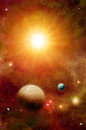 Exoplanets solar system with moons in orbit round a nearby star Royalty Free Stock Images