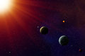 Exoplanets solar system star with orbiting and moons Stock Images