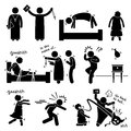 Exorcist exorcism evil demon spirit ritual cliparts icons a set of human pictogram representing a girl being possessed by and how Stock Image