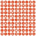 100 exotic animals icons hexagon orange