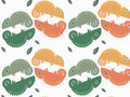 Exotic autumn lizard pattern with leaves Royalty Free Stock Photo