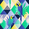 Exotic beach trendy seamless pattern, patchwork illustrated floral  tropical leaves. Jungle blue parrots. Wallpaper print ba Royalty Free Stock Photo