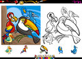 Exotic birds cartoon coloring page set illustrations of funny colorful characters group for book with elements Stock Image