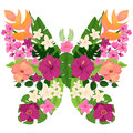 Exotic Butterfly with Tropical Flowers and Leaves