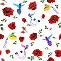 Exotic Colibri Birds With Rose...