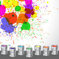 Exotic Color Splashes With Color Paint Bucket Royalty Free Stock Image