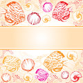 Exotic coral fishes and shells illustration text strip vector with Stock Images