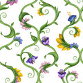 Exotic floral seamless ornate pattern wallpaper Stock Photography