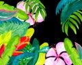 Exotic Flower Garden Watercolo...