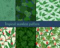 Simple tropical flowers seamless pattern