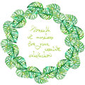 Exotic frame border (wreath) with monstera green leaves painted in watercolor for greeting card, decoration postcard or invitation