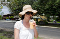 Exotic fruit drink shake tourist drinks in avarua man road in rarotonga cook islands Stock Photos