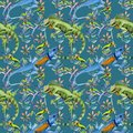 Exotic iguana pattern in a watercolor style.