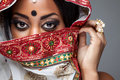 Exotic Indian bride dressed up for wedding Royalty Free Stock Photo