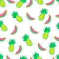 Exotic, juicy, fruity, seamless, cartoon, vector pattern.