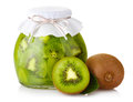 Exotic kiwi jam with ripe fruits and  on white Stock Photos