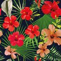 Exotic leaves and flowers seamless pattern night background