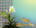 Exotic Lilies Mothers Day Card Royalty Free Stock Photos