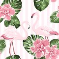 Exotic pink flamingo birds couple. Bright camelia flowers. Tropical monstera green leaves. Trendy seamless pattern.