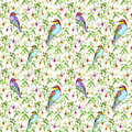 Exotic pink flowers and bright tropical birds. Seamless floral pattern. Watercolour Royalty Free Stock Photo