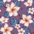 Exotic plumeria flowers and green monstera leaves on purple background in seamless tropical pattern. Watercolor painting. Royalty Free Stock Photo