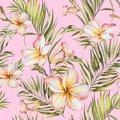 Exotic plumeria flowers and green palm leaves in seamless tropical pattern. Light pink background, pastel shades.