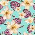 Exotic plumeria flowers and purple monstera leaves in seamless tropical pattern. Bright blue background, vivid colors.
