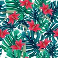 Exotic red lily and green monstera leaves background. Tropical seamless pattern.