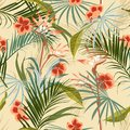 Exotic Retro vintage tropical wild forest with palm trees ,flowers,leaves,foliage seamless pattern in vector suits for