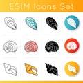 Exotic sea shells icons set Royalty Free Stock Photo
