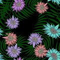 Exotic seamless pattern with tropical flowers and leaves. Banana leaves and flower. Floral background with exotic leaves and Royalty Free Stock Photo
