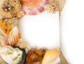 Exotic shell, stones, crystal with banner add Royalty Free Stock Image