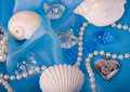Exotic shell and stones, pearls Royalty Free Stock Photography