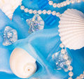 Exotic shell and stones, pearls Royalty Free Stock Photos