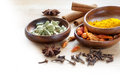 Exotic spices, corner background for indian cooking blurred to w