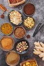 Exotic spices and and curry mixtures