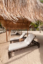 Exotic Tropical Beach Beds at Sea Shore Stock Photography