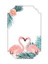 Exotic tropical border frame flamingo birds heart Royalty Free Stock Photo