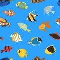 Exotic tropical fish underwater ocean or aquarium aquatic nature seamless pattern background vector