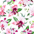 Exotic tropical floral bouquets seamless vector pattern