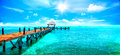 Exotic tropical resort. Jetty near Cancun, Mexico. Travel and vacations concept Royalty Free Stock Photo