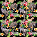 Exotic zebra and elephant wild animals pattern in a watercolor style. Royalty Free Stock Photo