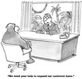 Expand customer base the businessman wants the gorilla to help the business s product sales to non humans Stock Photo