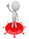 Expand customer base expanding your concept red circle expanding in all directions with little man standing on it with hand up Stock Photo