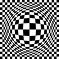 Expanded optical check checkerboard pattern in black and white repeats seamlessly Royalty Free Stock Photos