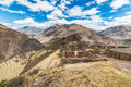 Expansive view of the sacred valley peru from pisac inca site major travel destination in cusco region ancient inca ruins in Royalty Free Stock Image